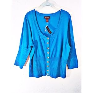 Lane Bryant bright blue button up top 22/24